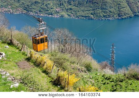 Lago di Como (Lake Como) scenic view with cable car between Argegno and Pigra