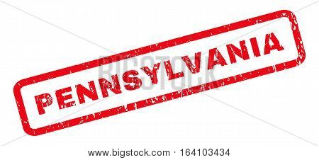 Pennsylvania text rubber seal stamp watermark. Tag inside rounded rectangular shape with grunge design and unclean texture. Slanted glyph red ink sign on a white background.