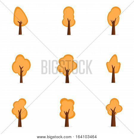 Set of orange tree collection stock illustration