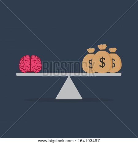 Flat Design Of Idea And Money On The Scale