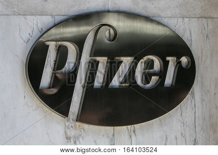New York, July 19, 2016: Pfizer logo on the building of the company's headquarters in Manhattan.