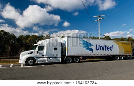 New Jersery December 10 2016: United truck on a parking lot of a rest area on Garden State Parkway.