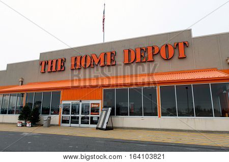 Absecon NJ, December 11, 2016: Home Depot store and parking lot in front of it.