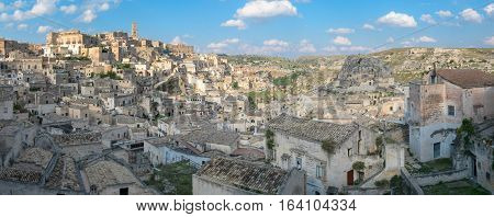Matera scenic view of Sasso Caveoso and landscape