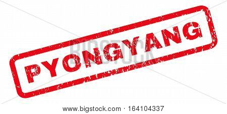 Pyongyang text rubber seal stamp watermark. Tag inside rounded rectangular shape with grunge design and dirty texture. Slanted glyph red ink sign on a white background.