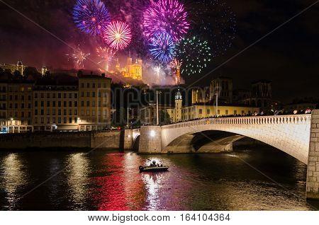 Lyon (France) fireworks on Notre-Dame de Fourviere for the National Holiday Bastille Day (14 July 2016)