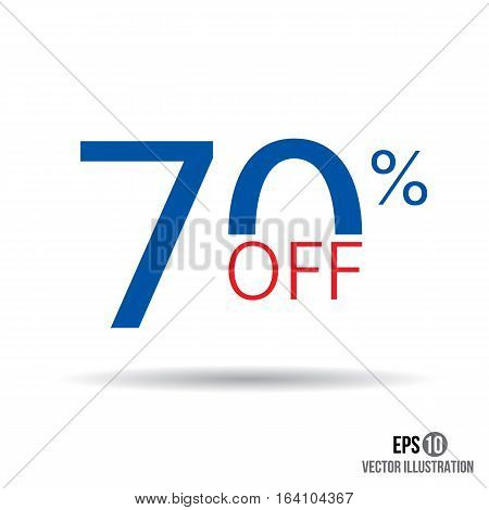 70 sale. Price off icon with 70 percent discount.