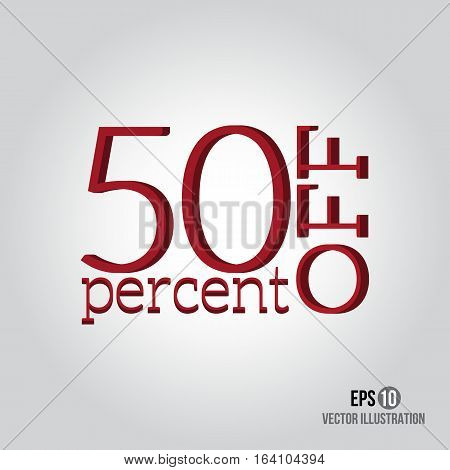 Red 50% sale. Price off icon with 50 percent discount.