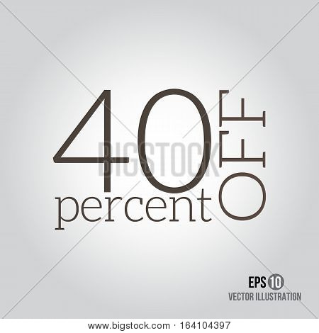 40% sale. Price off icon with 40 percent discount.