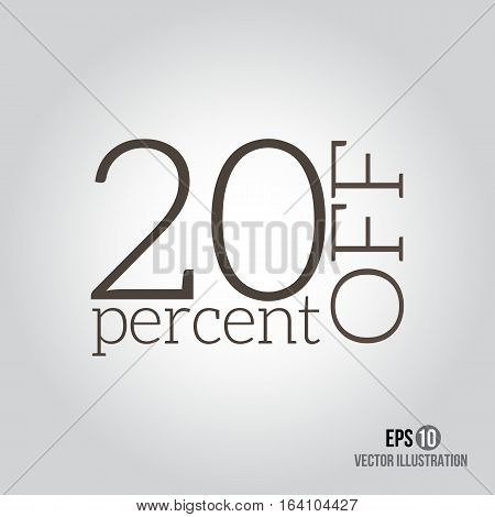 20% sale. Price off icon with 20 percent discount.
