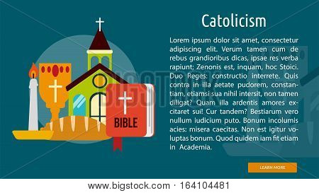 Catholicism Conceptual Banner | Great flat illustration concept icon and use for Religious, event, holiday, celebrate and much more.