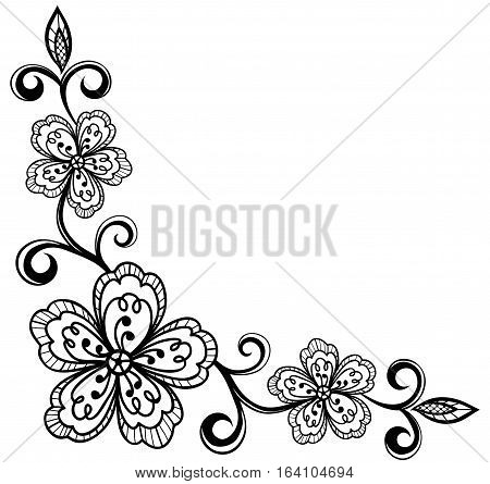 corner ornamental lace flowers. black and white