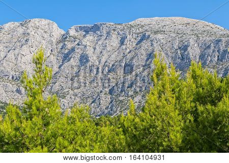 Tucepi view of the Biokovo, second-highest mountain range in Croatia, located along the Dalmatian coast of the Adriatic Sea.