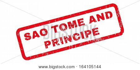 Sao Tome and Principe text rubber seal stamp watermark. Caption inside rounded rectangular shape with grunge design and dirty texture. Slanted glyph red ink sign on a white background.