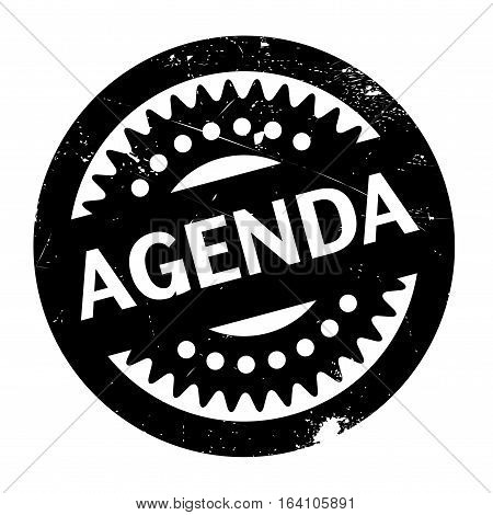Agenda rubber stamp. Grunge design with dust scratches. Effects can be easily removed for a clean, crisp look. Color is easily changed.
