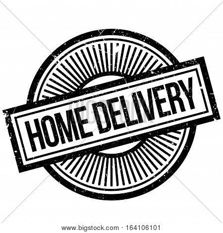 Home Delivery rubber stamp. Grunge design with dust scratches. Effects can be easily removed for a clean, crisp look. Color is easily changed.