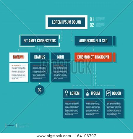 Modern Organization Chart Template In Flat Style On Cyan Background.