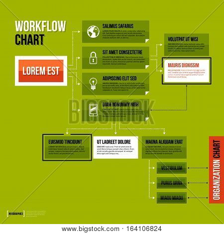 Modern Organization Chart Template In Flat Style On Green Background.