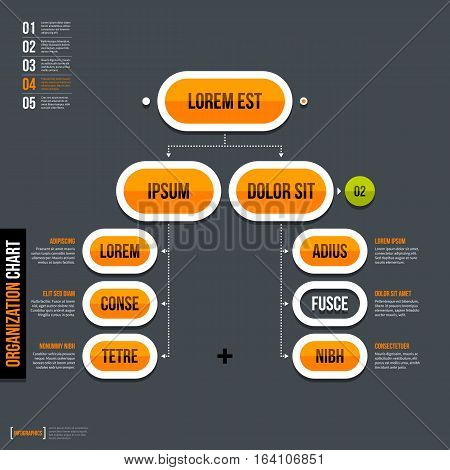 Modern Organization Chart Template In Flat Style On Gray Background.