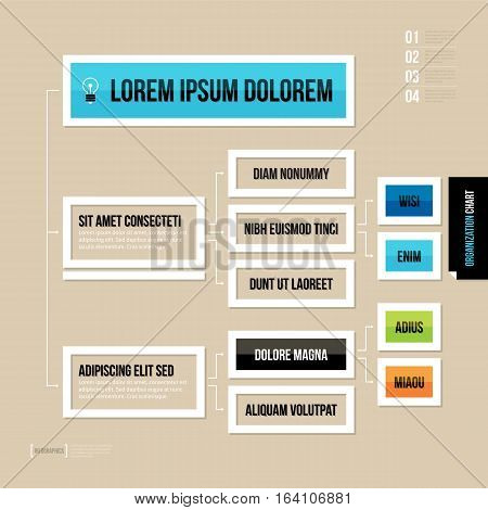 Modern Organization Chart Template In Flat Style On Brown Background.