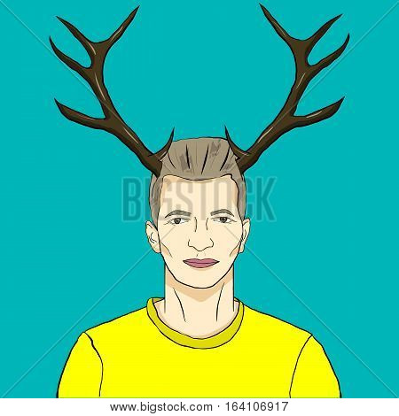 Vector illustration of a man with antler