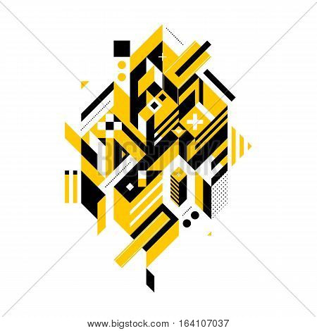 Abstract Composition Of Complex Geometric Shapes. Style Of Modern Art And Graffiti. The Design Eleme