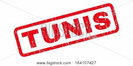 Tunis text rubber seal stamp watermark. Caption inside rounded rectangular banner with grunge design and unclean texture. Slanted glyph red ink emblem on a white background.