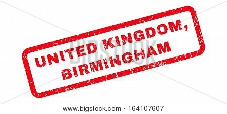 United Kingdom Birmingham text rubber seal stamp watermark. Tag inside rounded rectangular banner with grunge design and dirty texture. Slanted glyph red ink sticker on a white background.