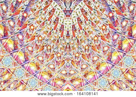 Abstract Intricate Mosaic Ornament. Fantasy Fractal Texture In Orange, Yellow, Pink, White And Blue