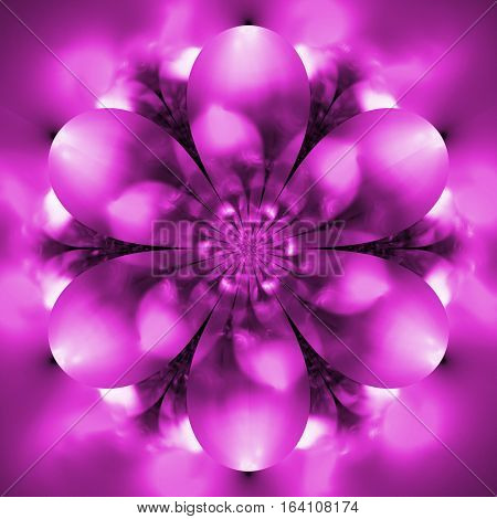 Abstract Exotic Flower. Psychedelic Mandala Design In Pink Colors. Fantasy Fractal Art. 3D Rendering