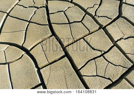 Cracked soil texture. The soil around the mud volcano