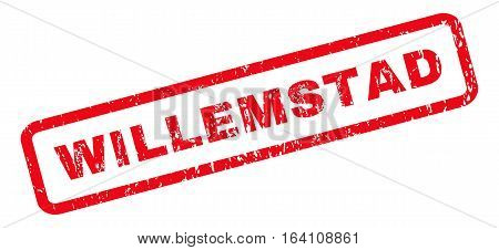 Willemstad text rubber seal stamp watermark. Tag inside rounded rectangular banner with grunge design and dirty texture. Slanted glyph red ink sticker on a white background.
