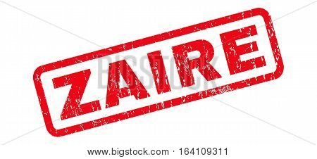 Zaire text rubber seal stamp watermark. Tag inside rounded rectangular banner with grunge design and unclean texture. Slanted glyph red ink sticker on a white background.