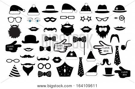 Set the party the person's face fake. Glasses hats lips mustaches tie monocle icons. vector illustration