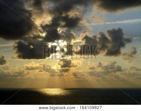 Beautiful cumulus cloud sunrise over the Atlantic Ocean