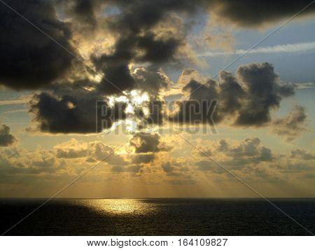 Beautiful cumulus cloud sunrise over the Atlantic Ocean