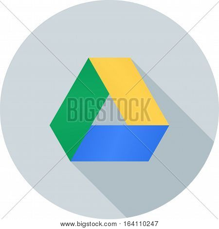 Google, drive, application icon vector image. Can also be used for social media logos. Suitable for mobile apps, web apps and print media.