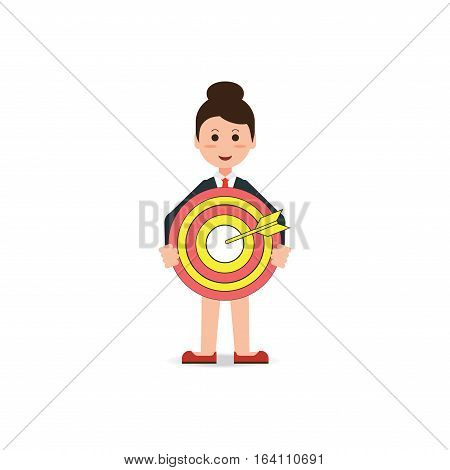 Business woman holding big aim target bravely red dart board business conceptual flat design vector illustration.