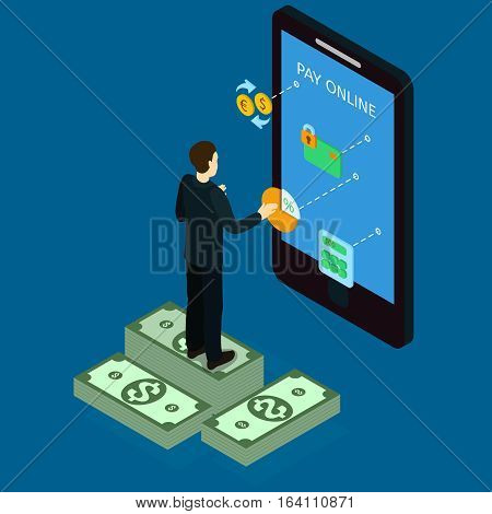 Internet banking isometric design with man standing on money near digital device and paying online vector illustration