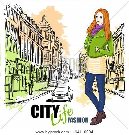 Colored sketch fashion city street poster with girl in town and pencil style drawn vector illustration