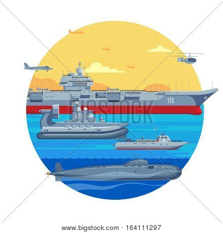 Military boats template with aircraft carrier  war ship naval frigate airplane helicopter and submarine vector illustration