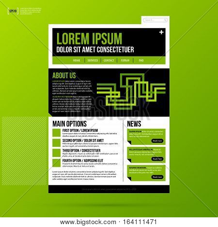 Web Site Template On Fresh Green Background. Useful For Presentations And Advertising.