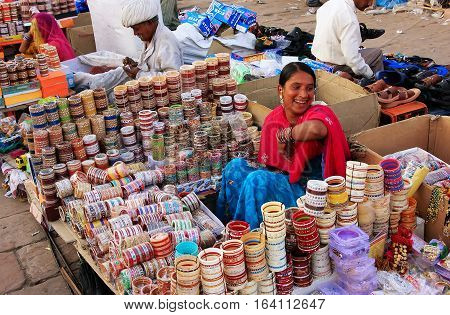 Jodhpur, India - February 11: An Unidentified Woman Sells Bangels At Sadar Market On February 11, 20