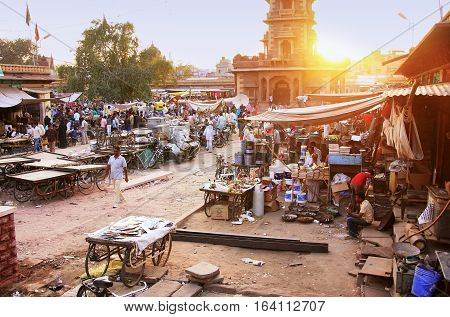 Jodhpur, India - February 11: Unidentified People Walk Around Sadar Market At Sunset On February 11,