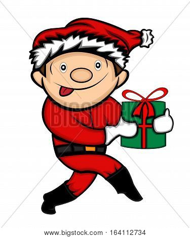 Little Boy in Santa Claus Costume Sneaking with Present Cartoon Illustration