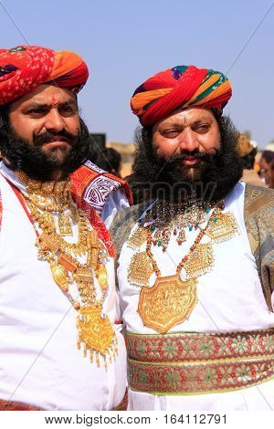 Jaisalmer, India - February 16: Unidentified Men Take Part In Mr Desert Competition On February 16,