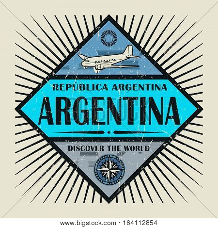 Stamp or vintage emblem with airplane compass and text Argentina Discover the World vector illustration