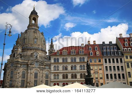 DRESDEN GERMANY - AUGUST 13 2016: Neumarkt Square at Frauenkirche (Our Lady church) in the center of Old town in Dresden State of Saxony Germany on August 13 2016.