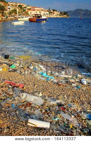 Beach Polluted With Plastic Garbage On Korcula Island, Croatia