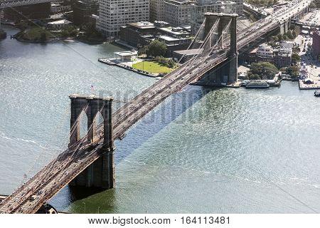 Brooklyn Bridge in New York City with the Brooklyn park